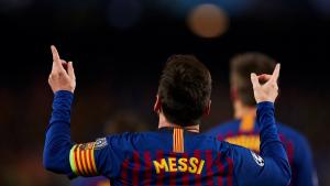 Leo Messi celebra un dels seus gols contra el United.
