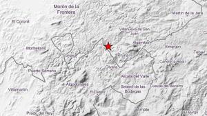 Lugar indicado como el epicentro del terremoto
