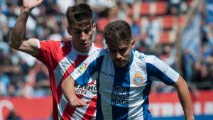 Melendo i Pere Pons, durant el Girona-Espanyol a Montilivi.