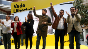 Oriol Junqueras i Raül Romeva han fet la seva primera aparició en un míting electoral aquest diumenge a Cambrils.