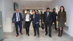 Òscar Peris i Marta Espasa (a l'esquerra), en la seva visita a la seu de l'ATC a Reus