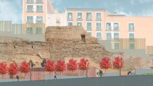 Recreació de l'estat actual i del projecte de reforma de l'àmbit del tram inicial de la muralla de Sant Antoni de Valls