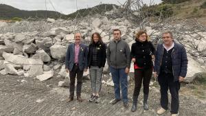 Representants d'ERC del territori en una visita a les obres del túnel del Coll de Lilla per on ha de passar l'A-27.