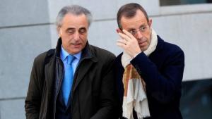 Sandro Rosell i Pau Molins, el seu advocat, a l'Audiència Nacional.