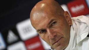 Zinedine Zidane, durant la roda de premsa prèvia al partit contra el Getafe.