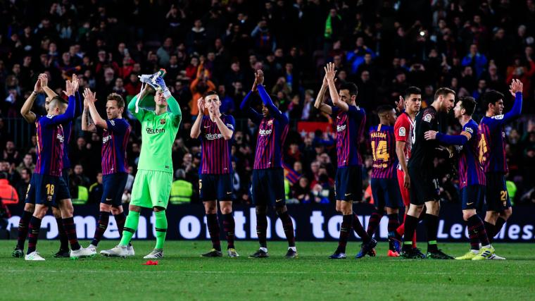 Els jugadors del Barça celebren la victòria contra l'Atlètic de Madrid.