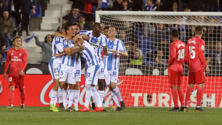 Els jugadors del Leganés celebren el gol contra el Madrid.