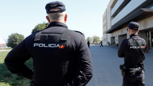 Agents de la Policia Nacional a les portes de l'Audiència de Castelló