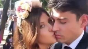 Anita Matamoros, besando a su novio, David Salvador