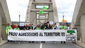 Capçalera de la manifestació dels contraris al projecte de l'abocador de Riba-roja d'Ebre durant la marxa, camí a Móra d'Ebre