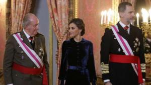 El rei Felip i la reina Letizia al costat dels reis emèrits Juan Carlos i Sofía a la Pasqua Militar del 2018
