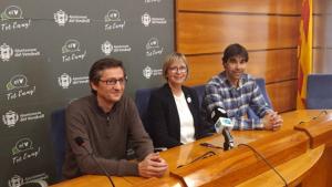 Eva Serramià, acompanyada dels altres regidors del PDeCAT al Vendrell.