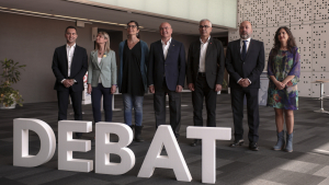 Foto de família dels participants en el debat electoral d'aquest dimecres