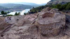 Imatge aèria del jaciment iber de l'Assut de Tivenys