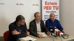 Imatge de la roda de premsa d'ERC i Compromís per Valls per valorar els resultats electorals.