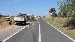 Imatge de les obres a la carretera T-722 del Rourell.