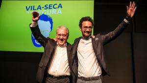 Josep Poblet i Pere Segura durant l'acte central de la candidatura