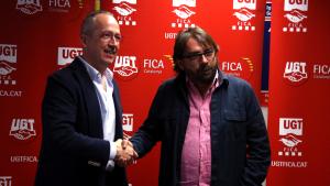 L'administrador del Grupo Jorge, Jorge Samper, i el secretari general d'UGT Catalunya, Camil Ros