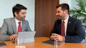 L'alcalde de Riudoms, Sergi Pedret, es reuneix amb el conseller de Polítiques Digitals i Administració Pública, Jordi Puigneró