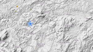 Localización del pequeño terremoto 2,7 percibido el 8 de mayo al SW de Pruna, Sevilla
