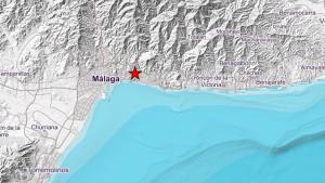 Localización del pequeño terremoto 3.2 percibido el 2 de mayo cerca de Málaga ciudad