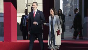 Los reyes de España en la recepción al presidente de Perú