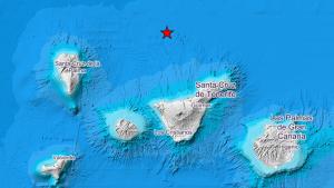 Mapa de Canarias con el epicentro del seísmo marcado