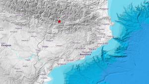 Mapa de Catalunya amb l'epicentre del sisme marcat