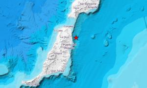Mapa del epicentro del terremoto de esta miércoles en Fuerteventura, a 10 kms al este de La Oliva