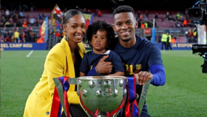 Nélson Semedo amb la seva parella Marlene i la seva filla Luana