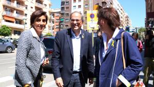 Quim Torra, la seva esposa, i la presidenta de l'ANC, Elisenda Paluzie, en la VII Assemblea General Ordinària de l'entitat a Tarragona