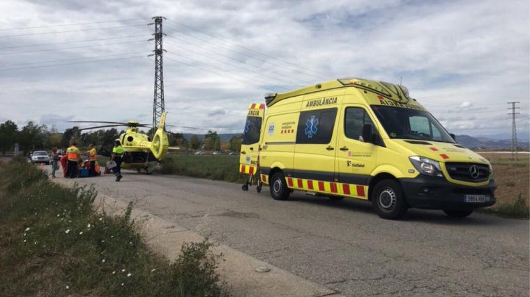El ciclista ferit ha estat traslladat amb helicòpter a l'Hospital de la Vall d'Hebron