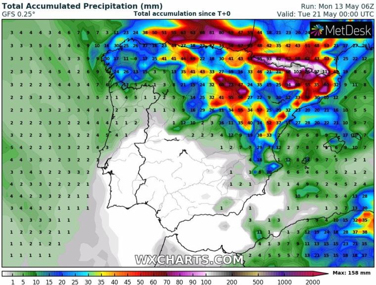 Mapa de la acumulación de lluvia prevista hasta martes 21 de mayo