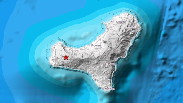 Mapa de la isla de El Hierro con el punto concreto donde ha tenido lugar el terremoto