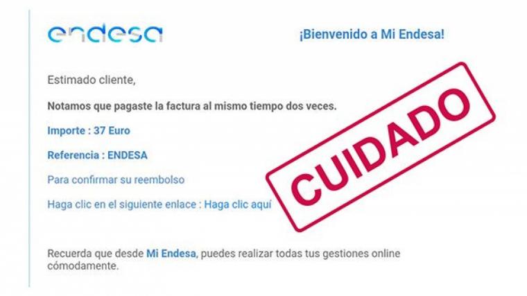 Un fals correu electrònic suplanta Endesa per robar les dades personals de la víctima