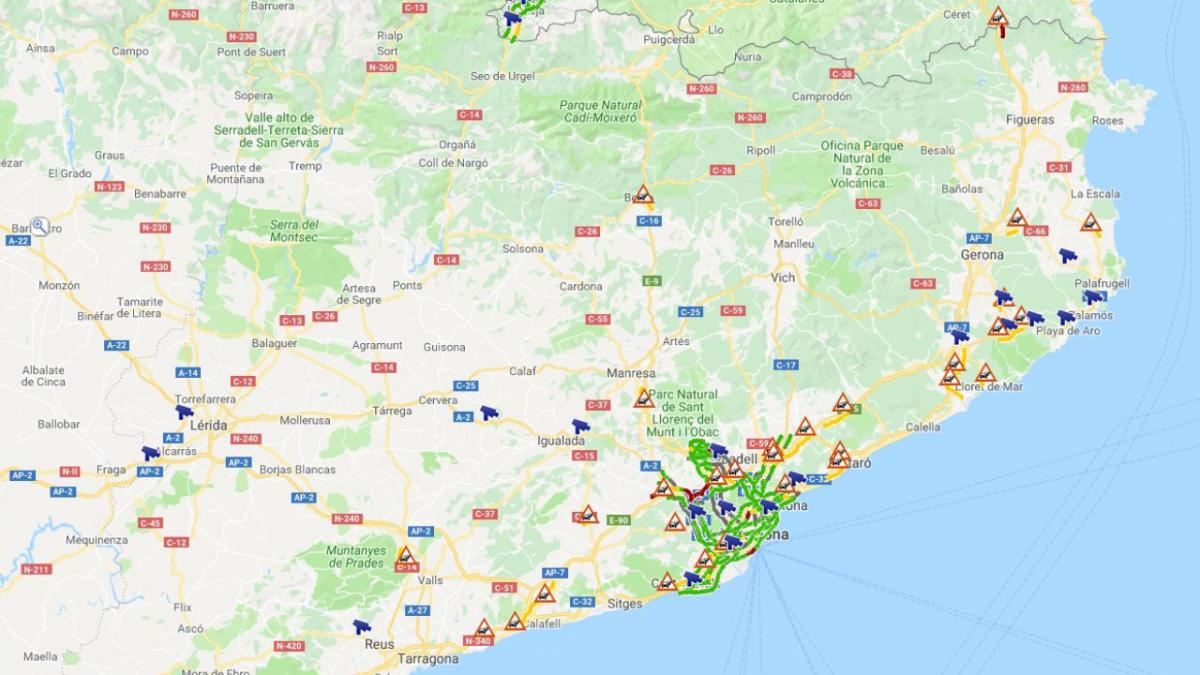 Mapa de la situació del trànsit a les carreteres catalanes