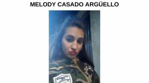 Aviso de búsqueda de Melody Casado Argüello