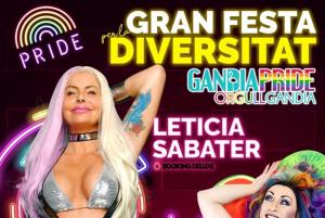 Cartell de la Gran Festa per la Diversitat 2019 de Gandia, amb Letícia Sabater