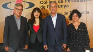 Eduard Rovira, Coia Ballesté, Josep Bertran i Núria Batet, en la presentació de la nova etapa dels guardons torrencs.