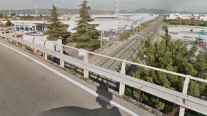 Eixida de la N-340 cap a Almassora al seu pas per damunt de les vies del tren