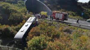 Imagen del accidente del autobús en Tenerife