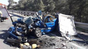 Imatge del tràgic accident al mes de febrer a la C-51 al Baix Penedès.