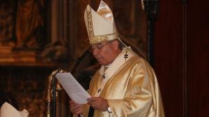 Jaume Pujol durant l'Homilia en la missa de comiat a la Catedral de Tarragona.