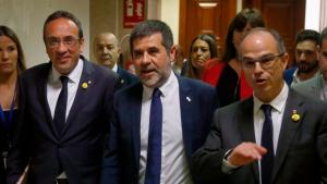 Josep Rull, Jordi Sànchez i Jordi Turull entrant al Congrés