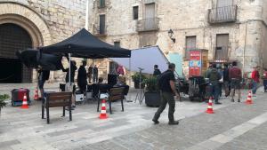 La plaça Sant Miquel de Montblanc esdevé un plató per la gravació d'un anunci publicitari.