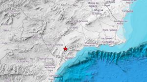 Mapa de la situación del terremoto que ha afectado Murcia, esta pasada noche de sábado