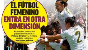 Portada del diari 'Marca': «El futbol femení entra en una nova dimensió»