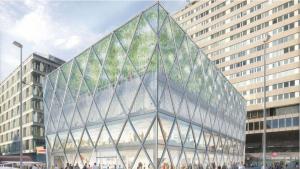 Recreació del futur edifici Axis, a la plaça de olón, dissenyat per Norman Foster