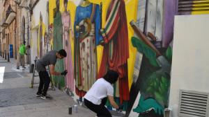 Restauren el mural del Seguici Festiu de l'Ajuntament de Reus