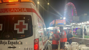 Un trabajador de la Feria de San Juan de Badajoz ha resultado herido al recibir una descarga eléctrica
